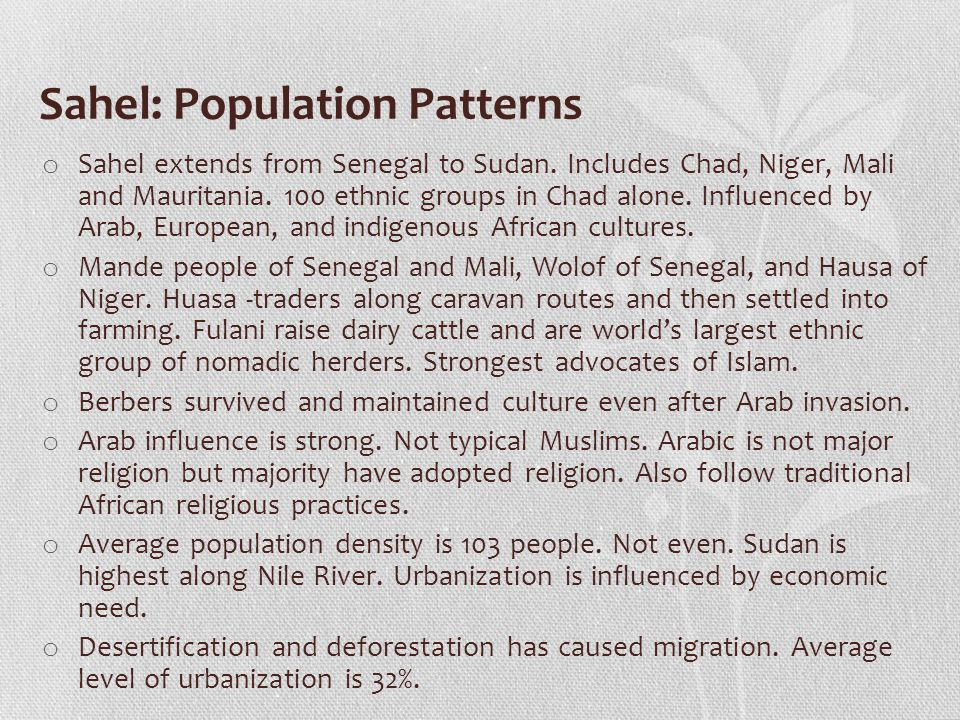 Sahel: Population Patterns