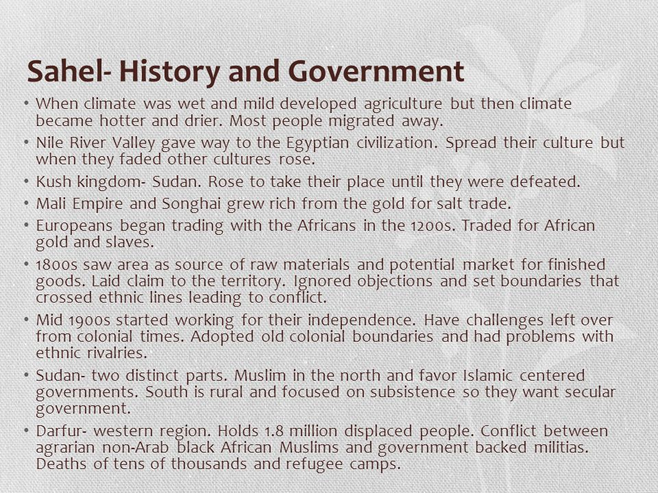 Sahel- History and Government