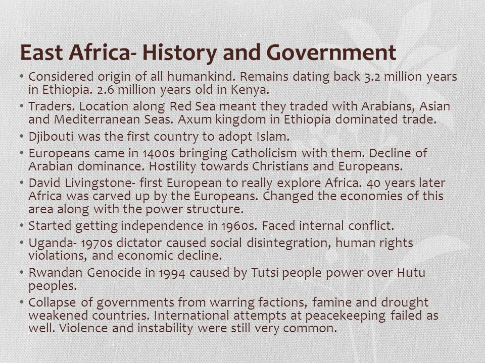 East Africa- History and Government