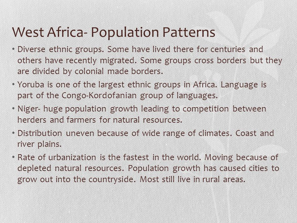 West Africa- Population Patterns