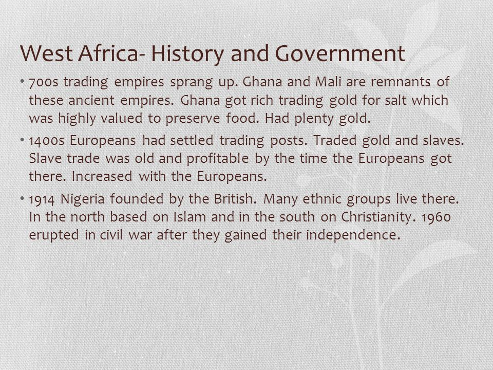 West Africa- History and Government