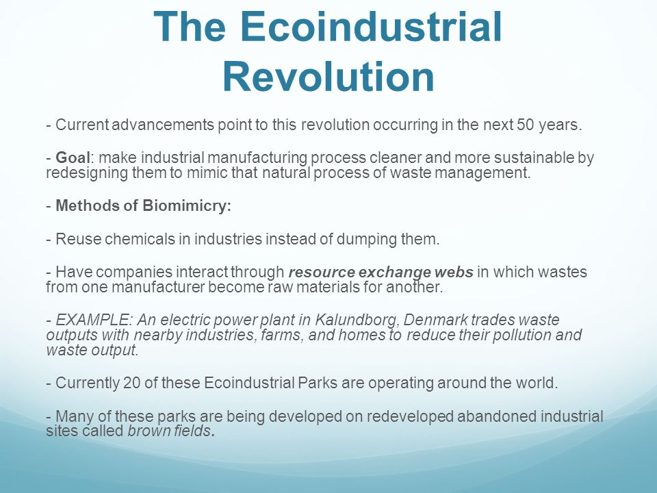 The Ecoindustrial Revolution