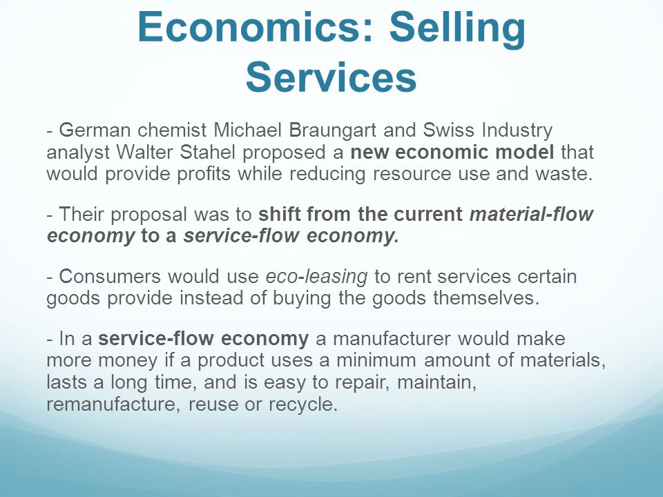 Economics: Selling Services