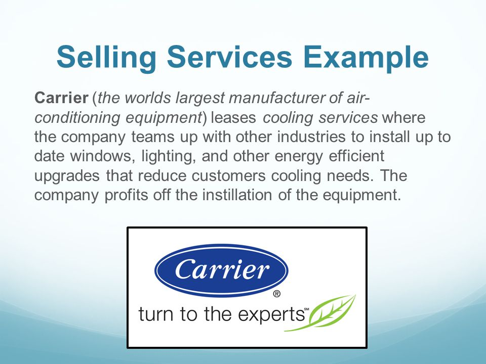 Selling Services Example