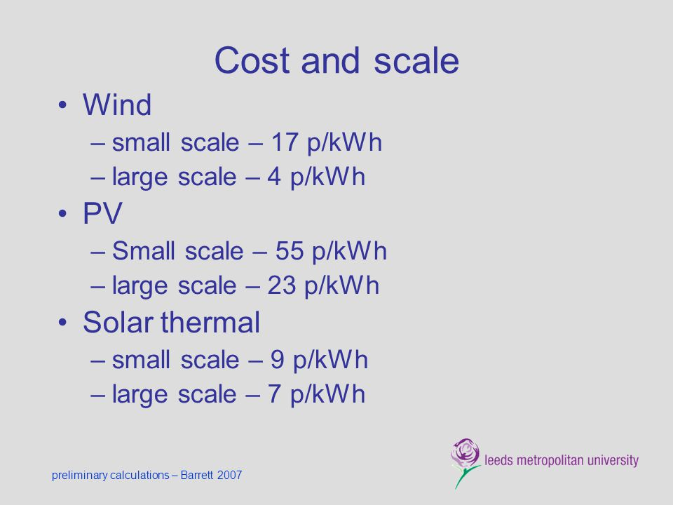 Cost and scale Wind PV Solar thermal small scale – 17 p/kWh