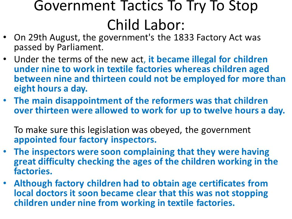 Government Tactics To Try To Stop Child Labor: