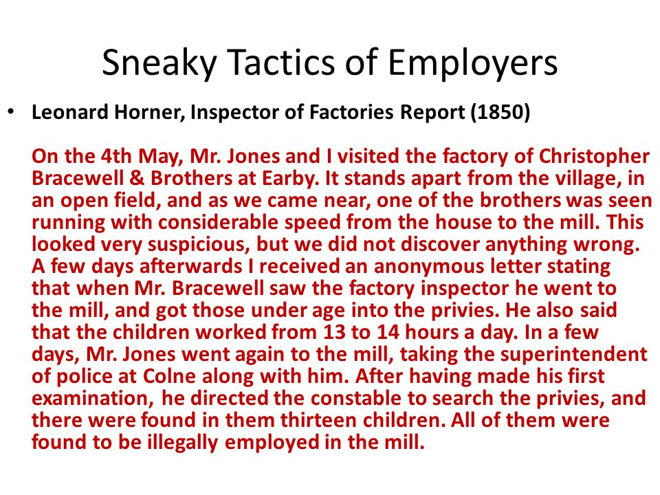Sneaky Tactics of Employers