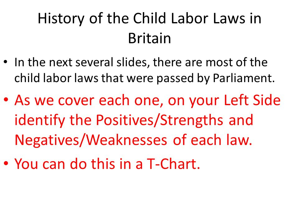 History of the Child Labor Laws in Britain