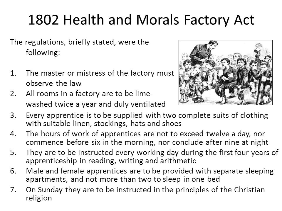 1802 Health and Morals Factory Act