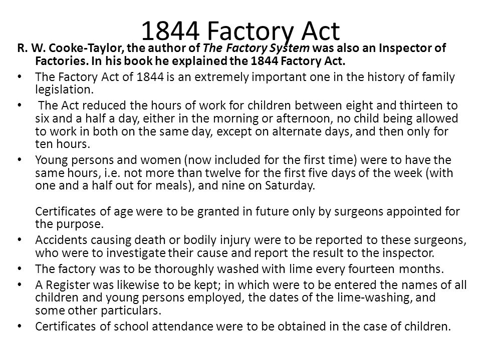 1844 Factory Act