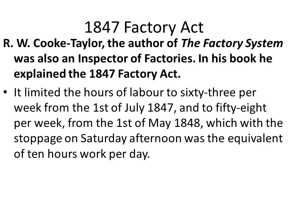 1847 Factory Act