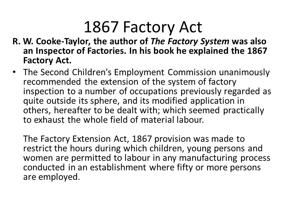 1867 Factory Act