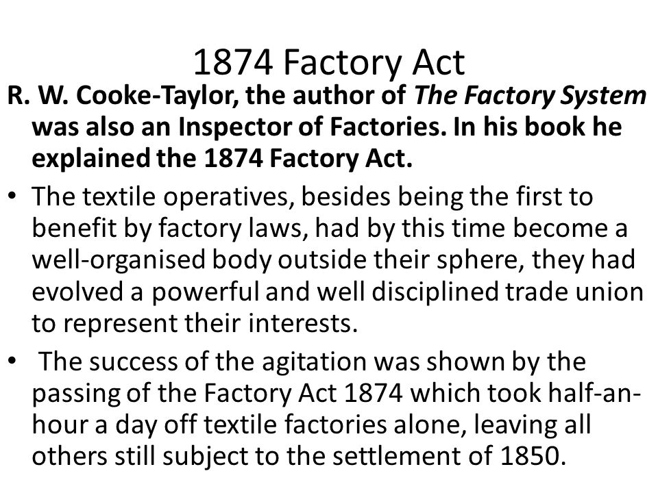 1874 Factory Act