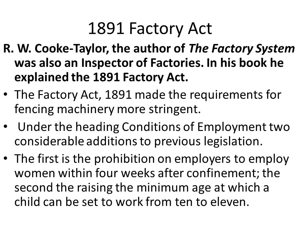 1891 Factory Act