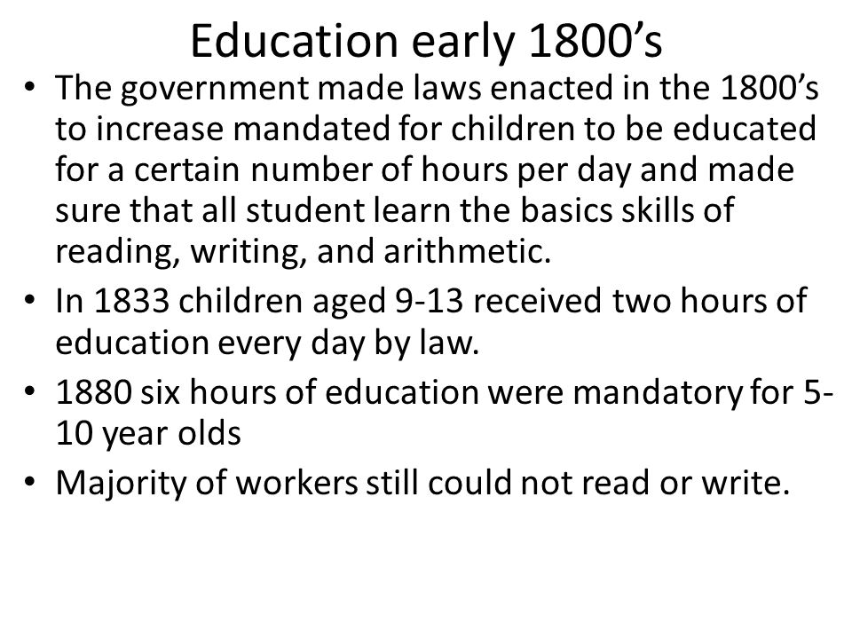 Education early 1800's