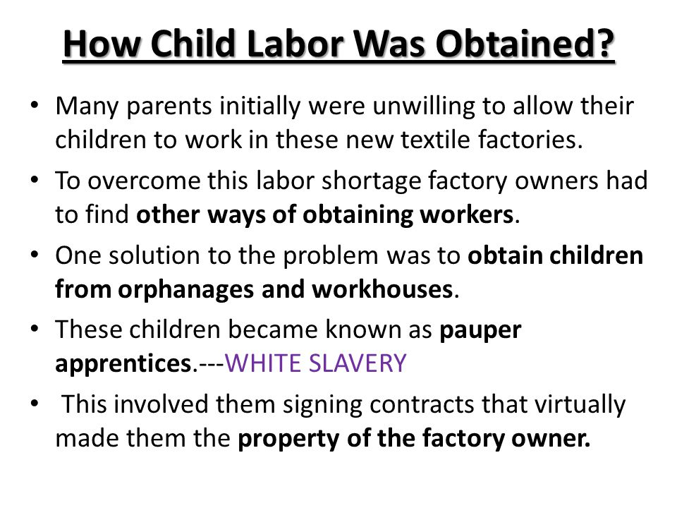 How Child Labor Was Obtained
