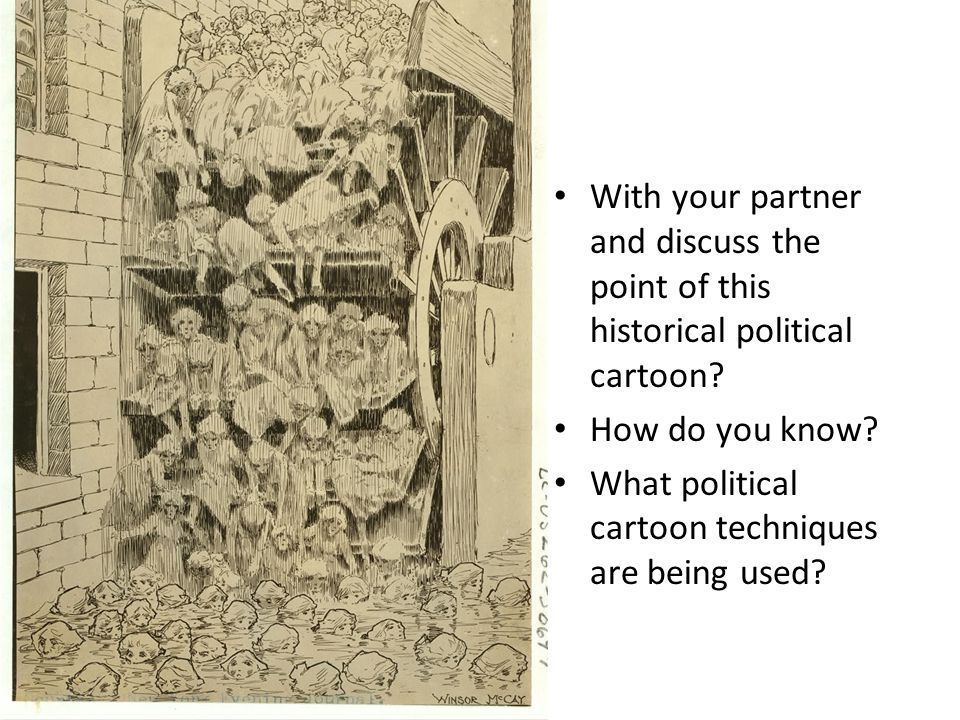 With your partner and discuss the point of this historical political cartoon