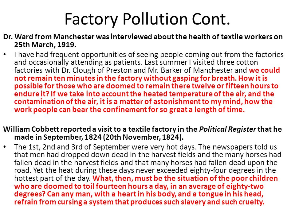 Factory Pollution Cont.