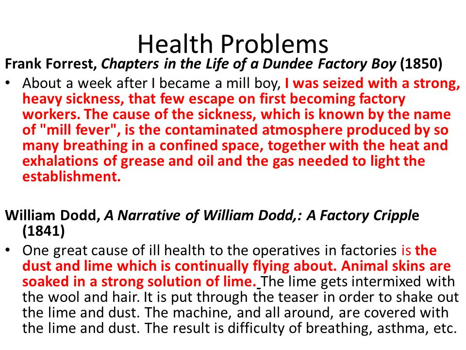 Health Problems Frank Forrest, Chapters in the Life of a Dundee Factory Boy (1850)