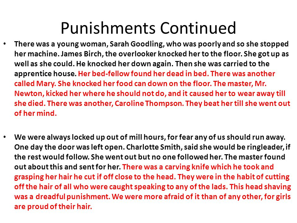 Punishments Continued