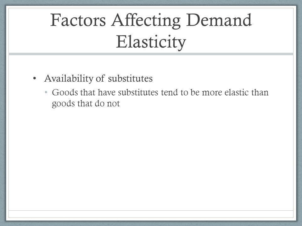 Factors Affecting Demand Elasticity