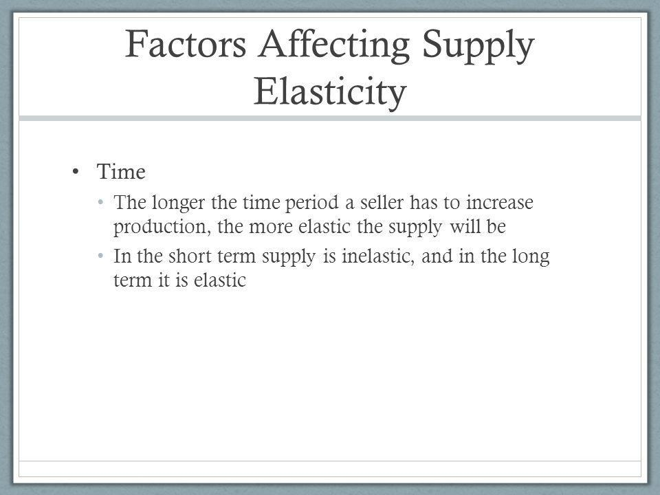 Factors Affecting Supply Elasticity