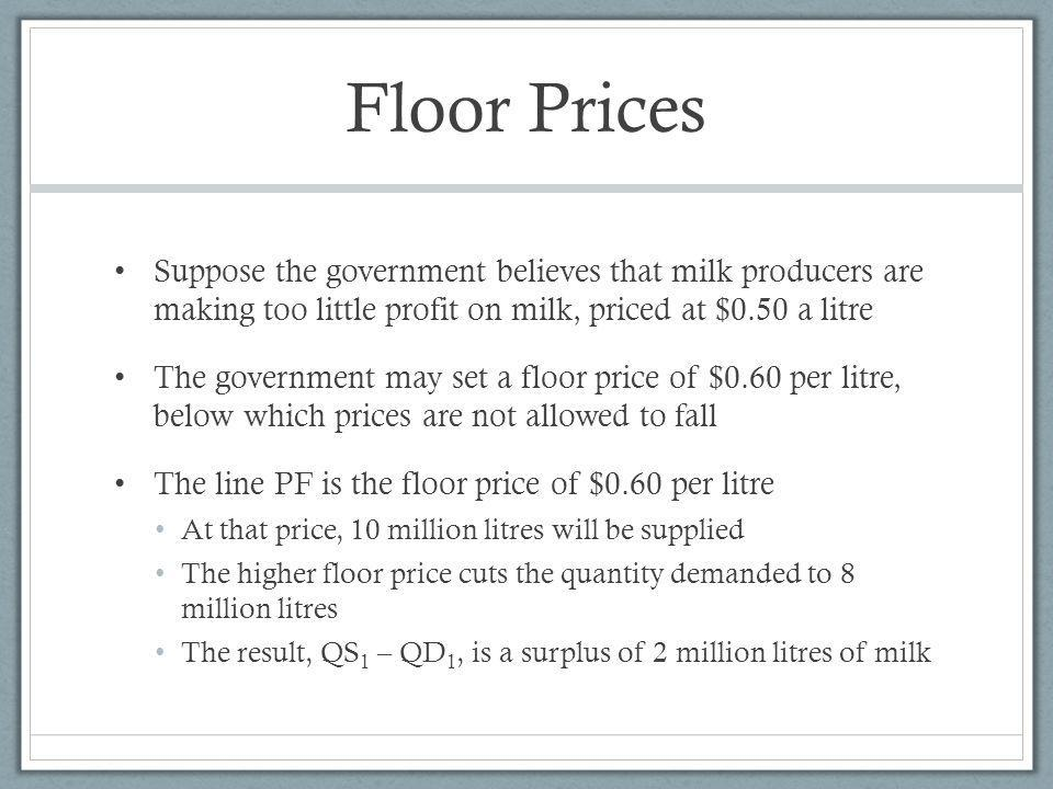 Floor Prices Suppose the government believes that milk producers are making too little profit on milk, priced at $0.50 a litre.