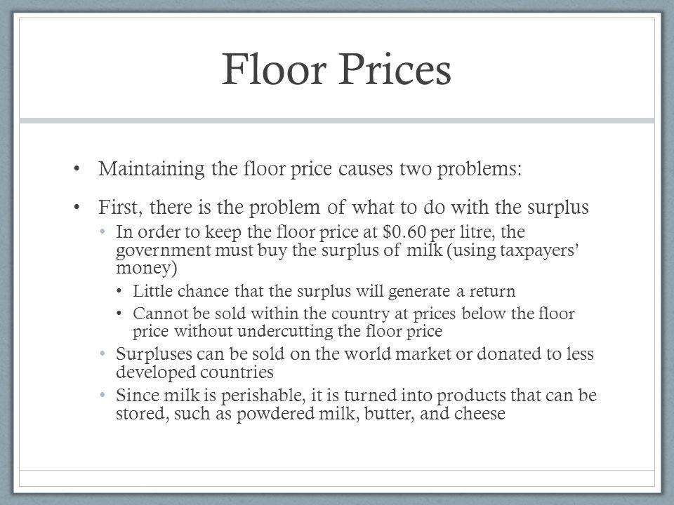 Floor Prices Maintaining the floor price causes two problems:
