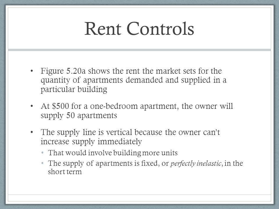 Rent Controls Figure 5.20a shows the rent the market sets for the quantity of apartments demanded and supplied in a particular building.
