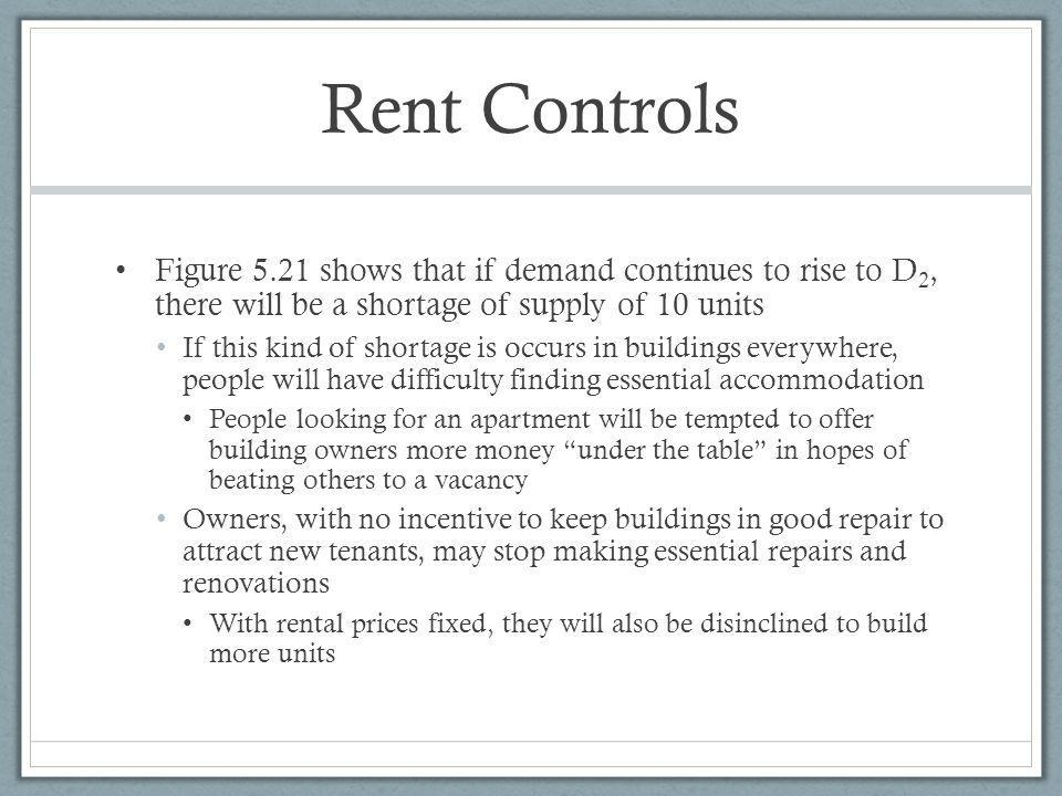 Rent Controls Figure 5.21 shows that if demand continues to rise to D2, there will be a shortage of supply of 10 units.