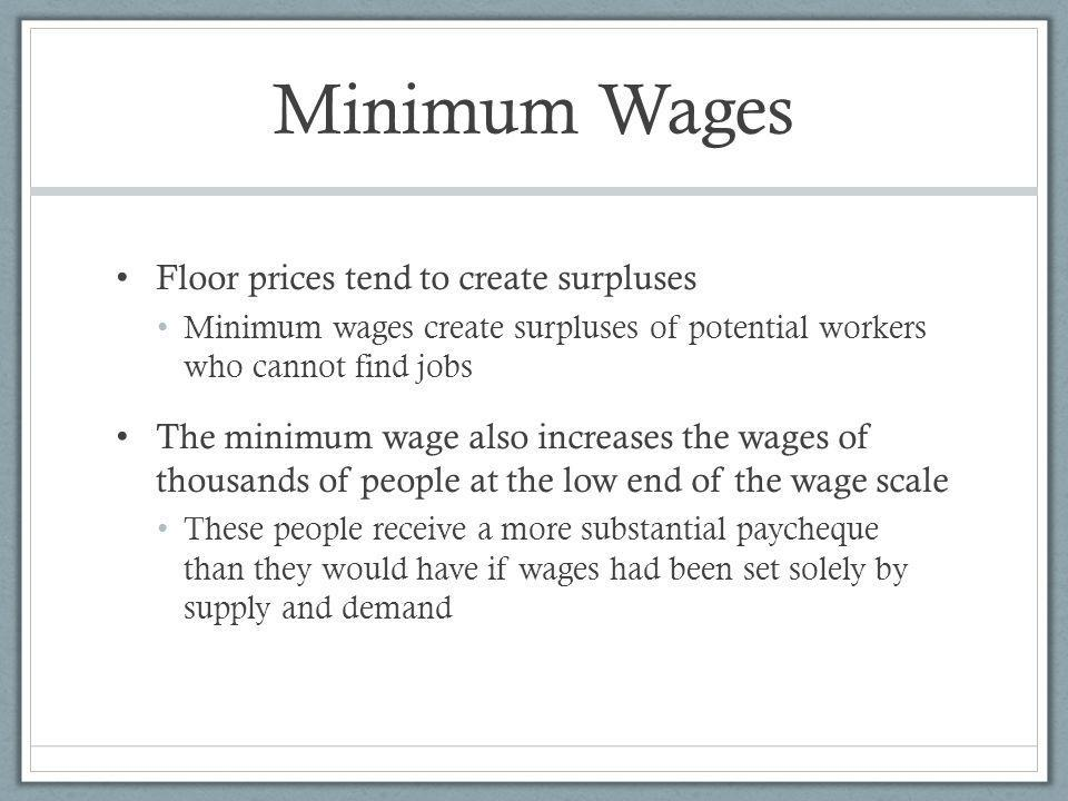 Minimum Wages Floor prices tend to create surpluses