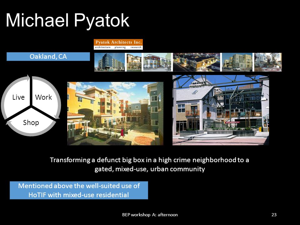 Michael Pyatok Work Shop Live Oakland, CA