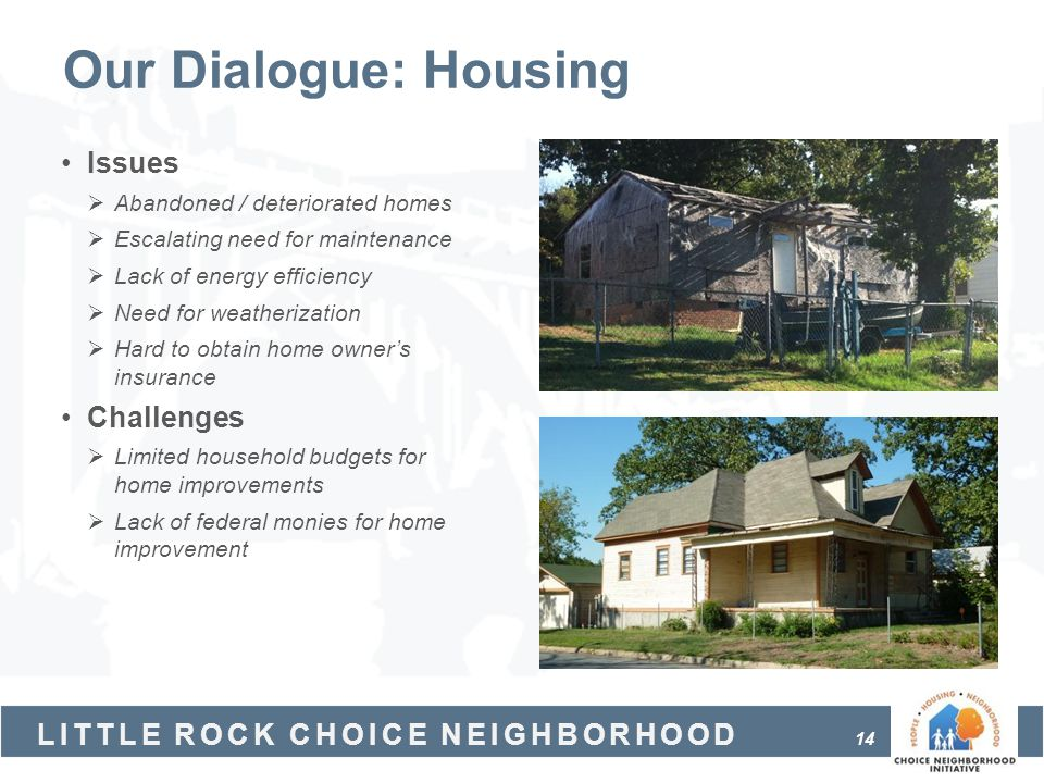 Our Dialogue: Housing Issues Challenges Abandoned / deteriorated homes