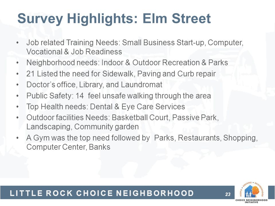 Survey Highlights: Elm Street