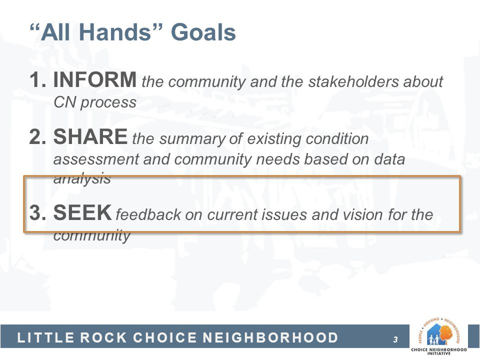 All Hands Goals INFORM the community and the stakeholders about CN process.