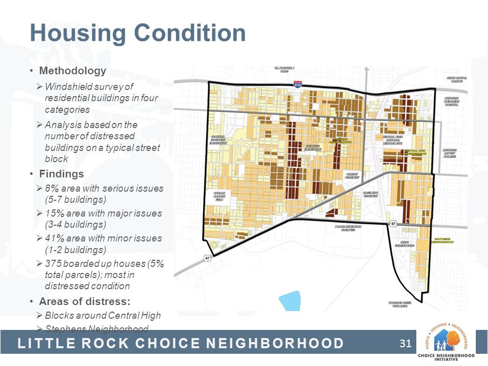 Housing Condition Methodology Findings Areas of distress: