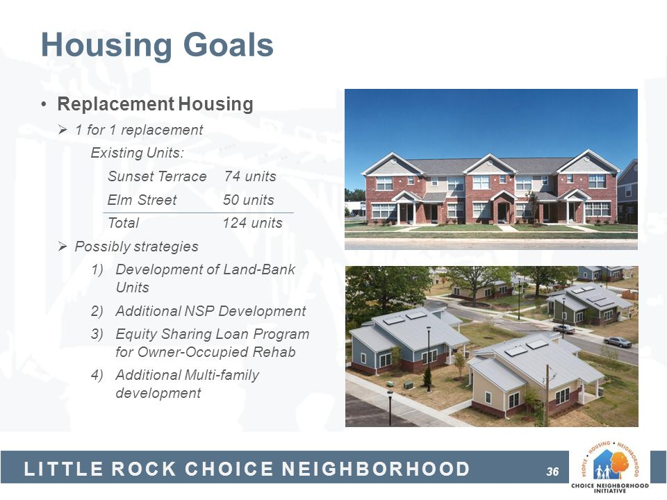 Housing Goals Replacement Housing 1 for 1 replacement Existing Units:
