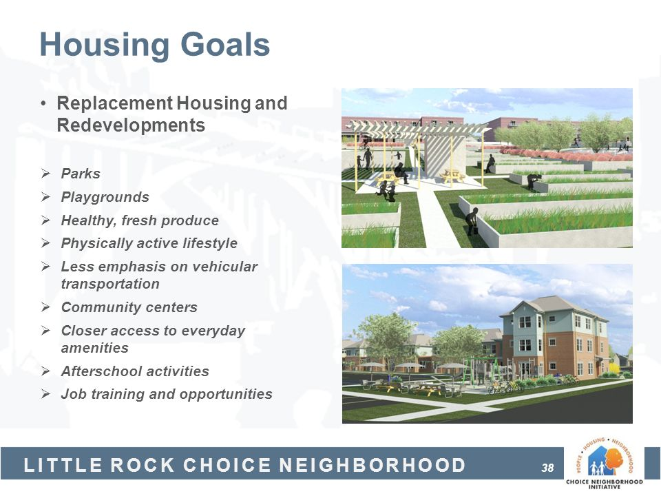 Housing Goals Replacement Housing and Redevelopments Parks Playgrounds