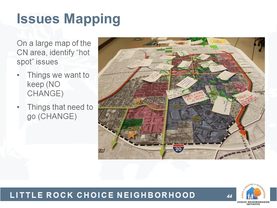 Issues Mapping On a large map of the CN area, identify hot spot issues. Things we want to keep (NO CHANGE)