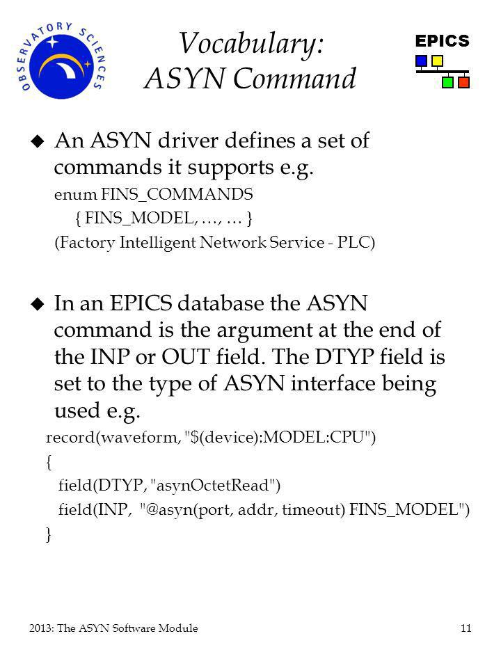 Vocabulary: ASYN Command