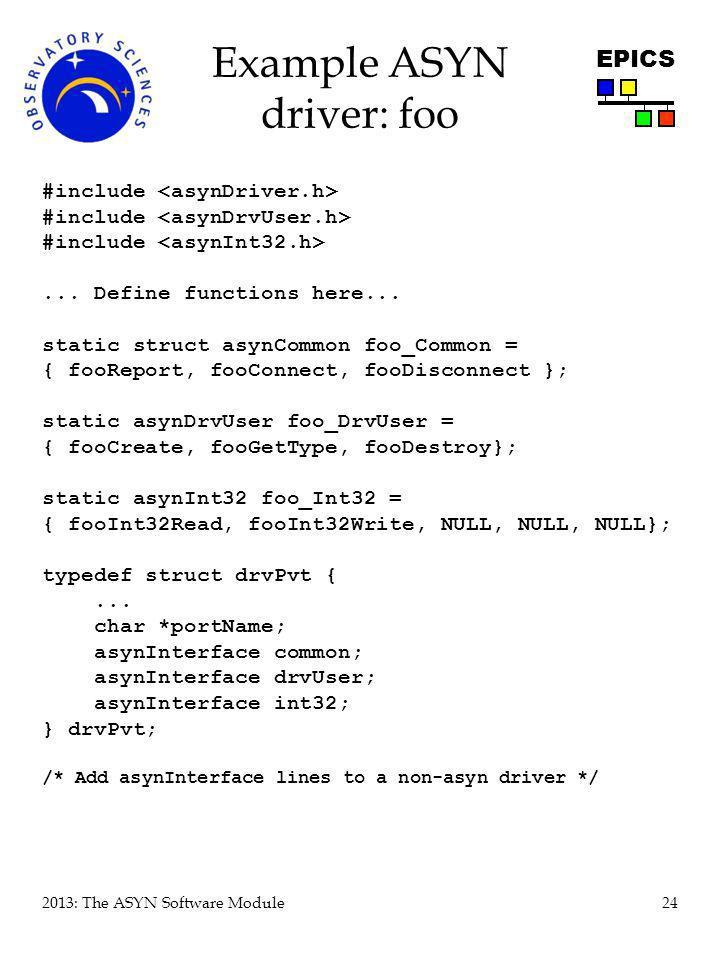 Example ASYN driver: foo