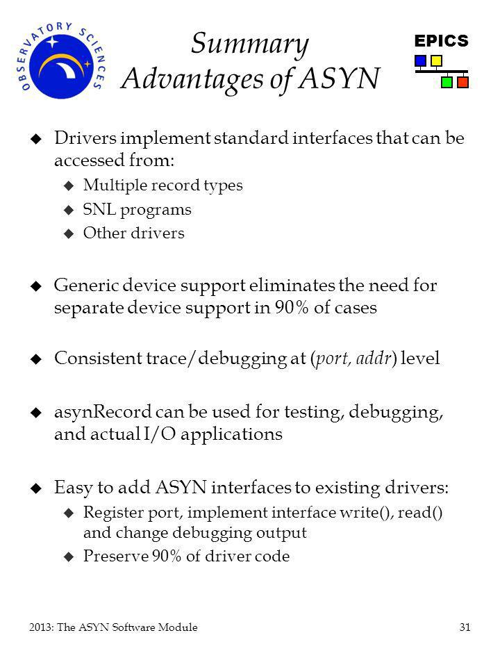 Summary Advantages of ASYN