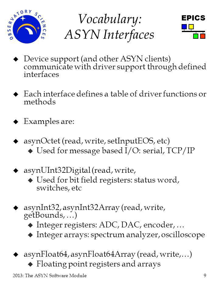 Vocabulary: ASYN Interfaces