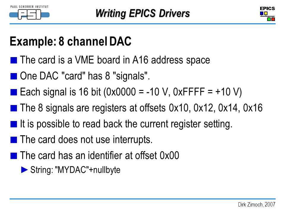 Example: 8 channel DAC Writing EPICS Drivers