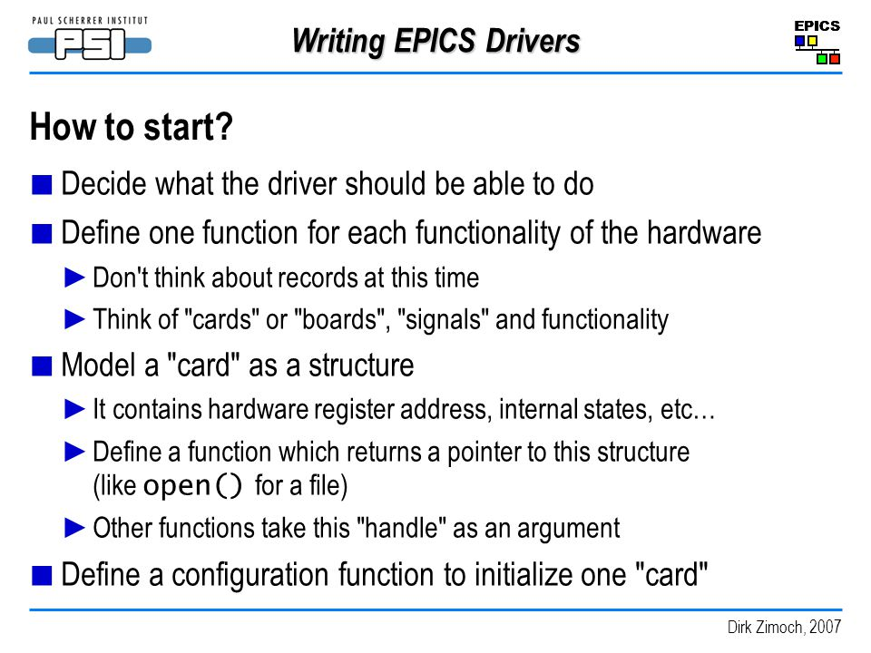 How to start Writing EPICS Drivers