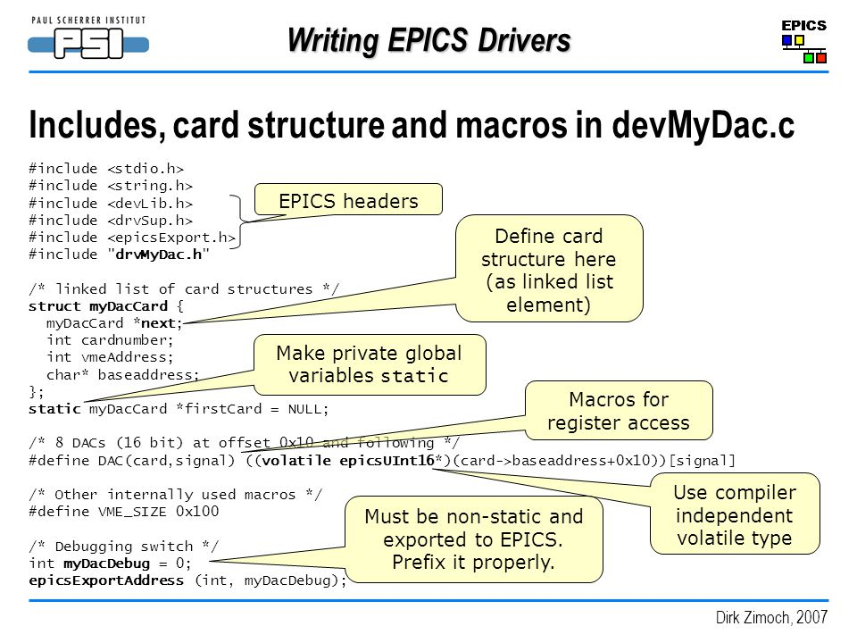 Includes, card structure and macros in devMyDac.c