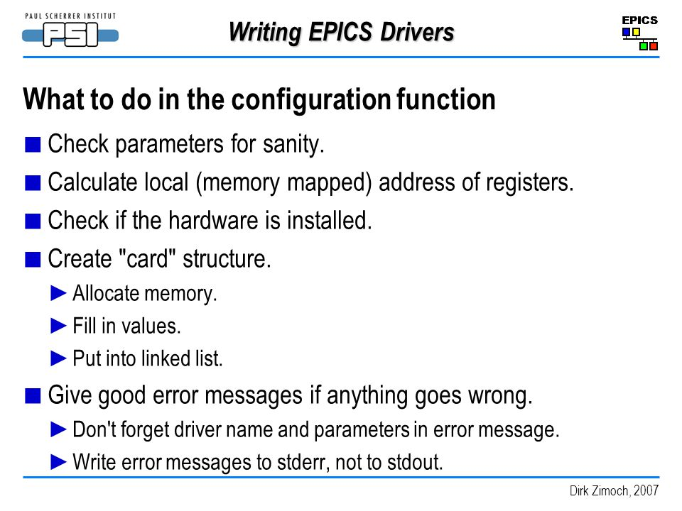 What to do in the configuration function
