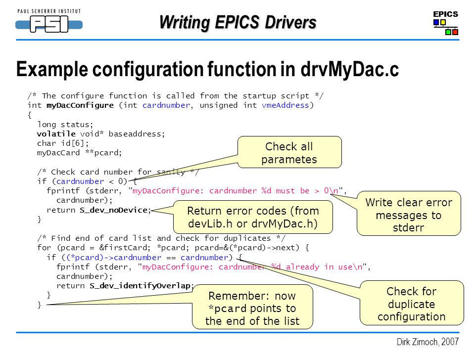 Example configuration function in drvMyDac.c