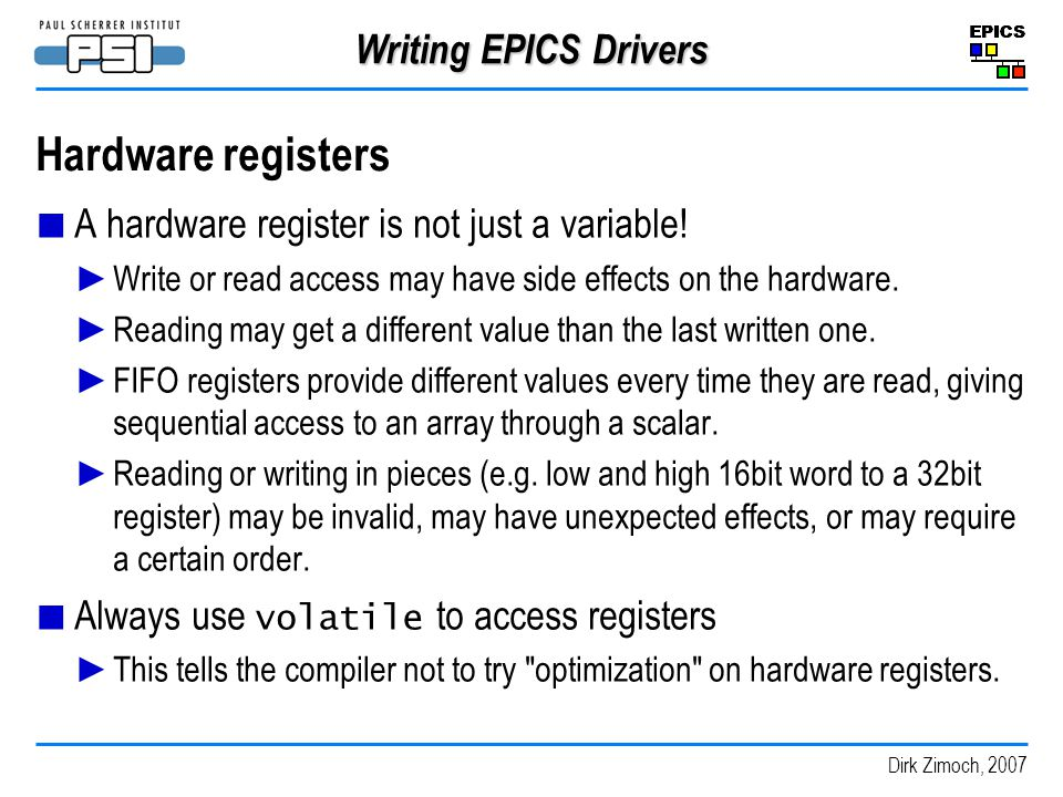 Hardware registers Writing EPICS Drivers