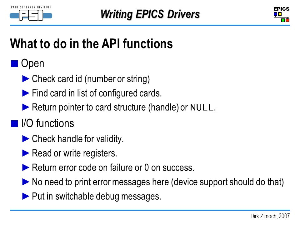 What to do in the API functions